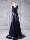 A-line Halter Sweep Train Sequined with Sashes / Ribbons Bridesmaid Dresses #PDS01013179