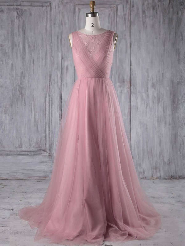 A-line Scoop Neck Sweep Train Tulle with Lace Bridesmaid Dresses #PDS01013180