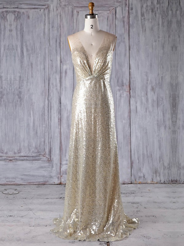 A-line V-neck Sweep Train Tulle Sequined with Sequins Bridesmaid Dresses #PDS01013183