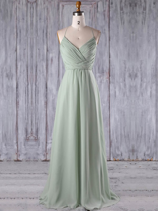 A-line V-neck Floor-length Chiffon Tulle with Appliques Lace Bridesmaid Dresses #PDS01013184