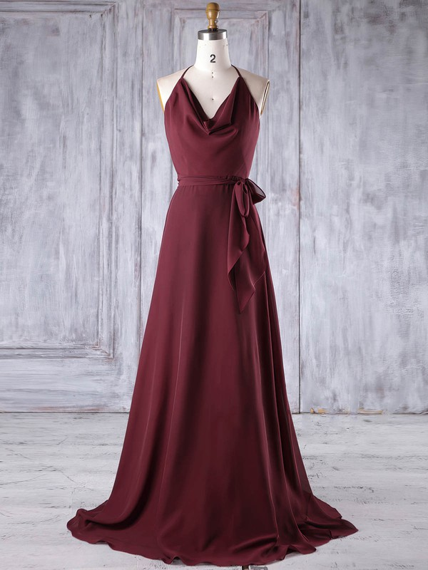 A-line Halter Sweep Train Chiffon with Sashes / Ribbons Bridesmaid Dresses #PDS01013185
