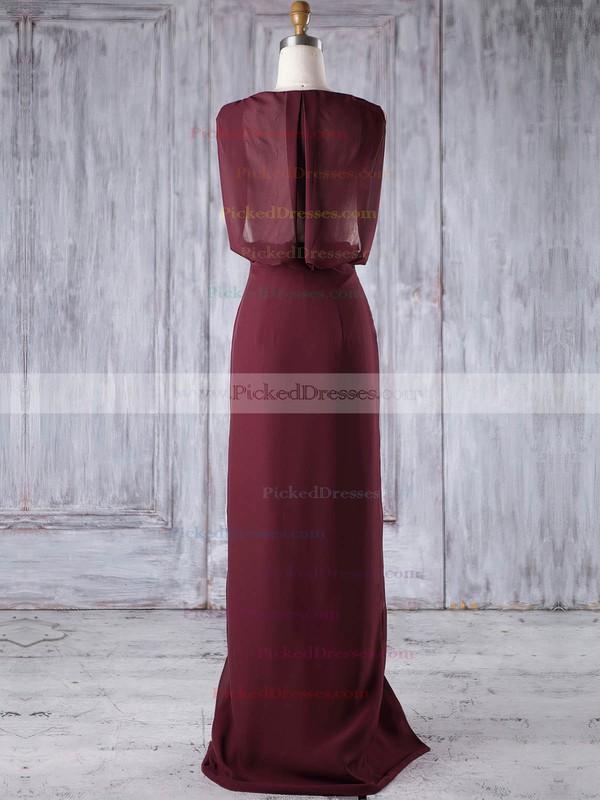 Sheath/Column V-neck Floor-length Lace Chiffon with Split Front Bridesmaid Dresses #PDS01013186