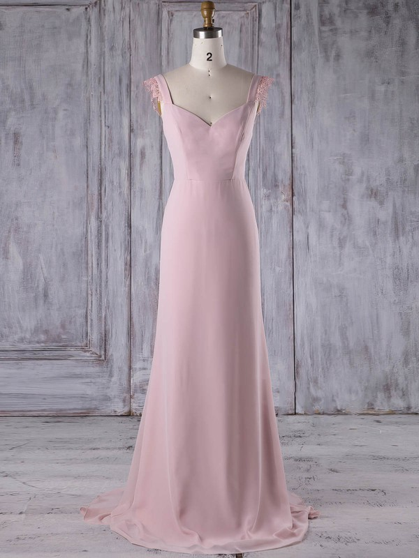 Sheath/Column V-neck Sweep Train Chiffon with Lace Bridesmaid Dresses #PDS01013187