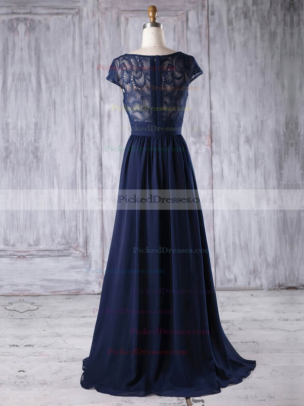 A-line Scoop Neck Floor-length Lace Chiffon with Ruffles Bridesmaid Dresses #PDS01013188