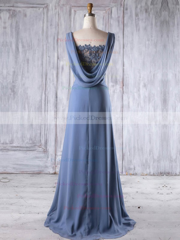 A-line Square Neckline Sweep Train Lace Chiffon with Beading Bridesmaid Dresses #PDS01013191