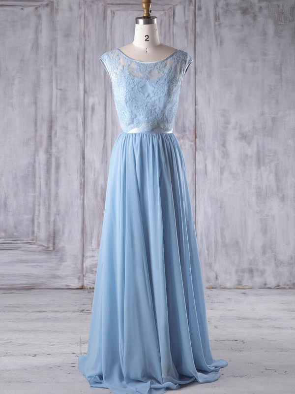 A-line Scoop Neck Sweep Train Chiffon Tulle with Sashes / Ribbons Bridesmaid Dresses #PDS01013192