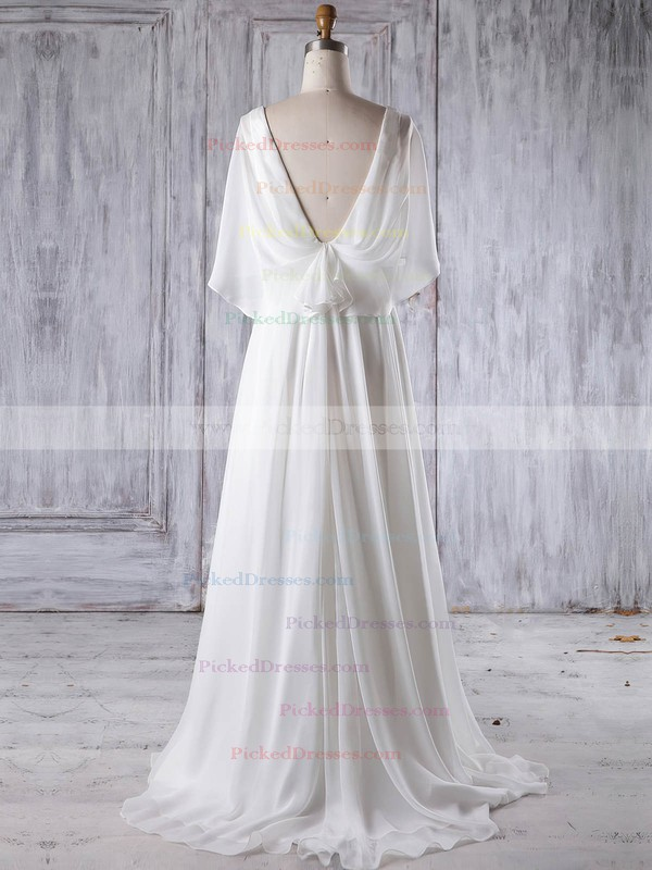 A-line V-neck Sweep Train Chiffon with Ruffles Bridesmaid Dresses #PDS01013193