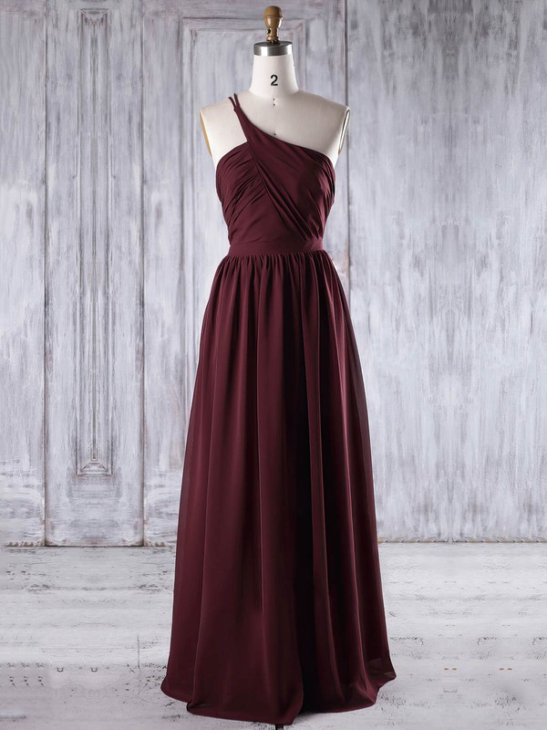 A-line One Shoulder Floor-length Chiffon with Ruffles Bridesmaid Dresses #PDS01013195
