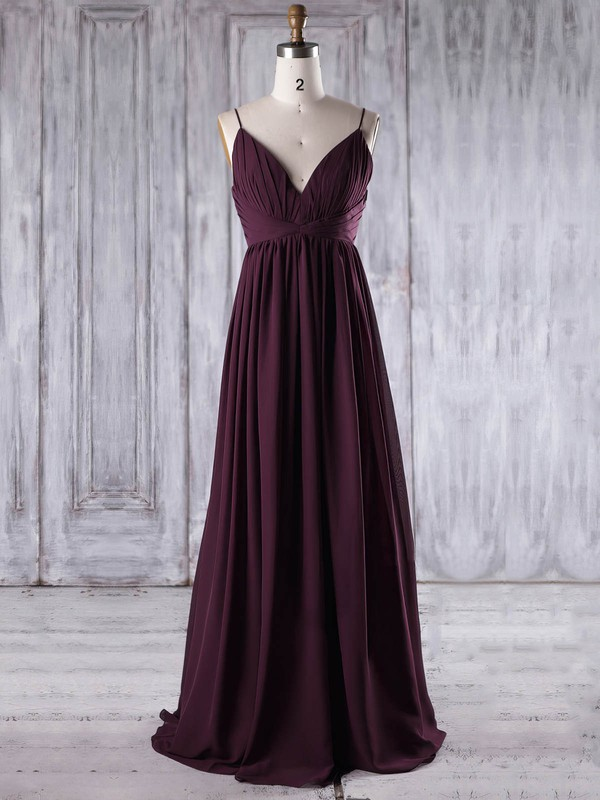 Empire V-neck Floor-length Chiffon with Ruffles Bridesmaid Dresses #PDS01013196