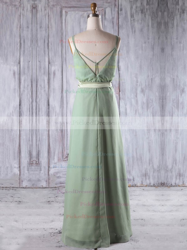 A-line V-neck Floor-length Chiffon with Sashes / Ribbons Bridesmaid Dresses #PDS01013197