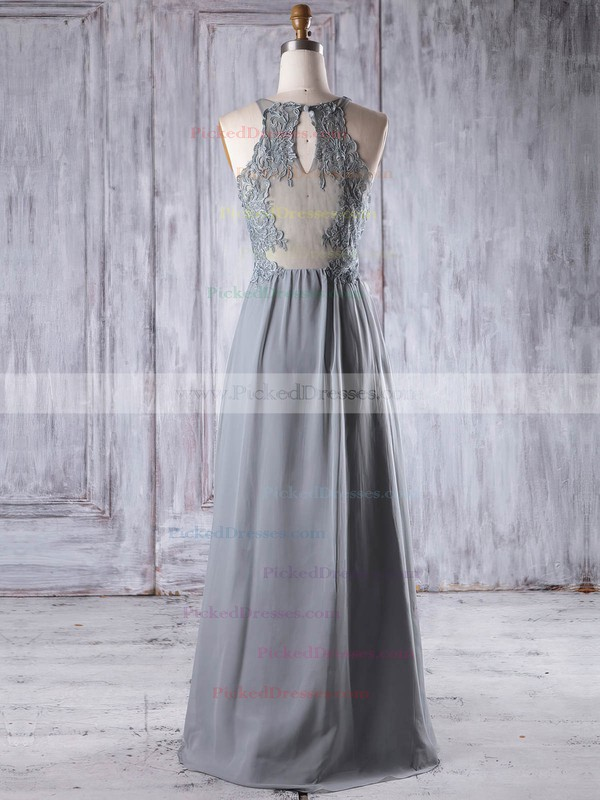 A-line V-neck Floor-length Chiffon Tulle with Appliques Lace Bridesmaid Dresses #PDS01013198