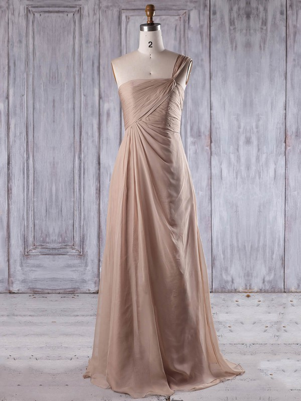 A-line One Shoulder Floor-length Chiffon with Ruffles Bridesmaid Dresses #PDS01013199