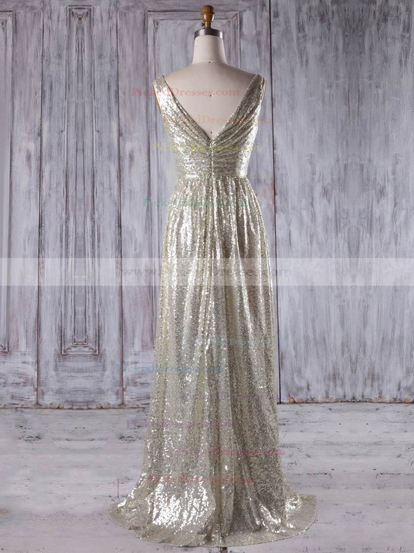 A-line V-neck Sweep Train Sequined with Split Front Bridesmaid Dresses #PDS01013202