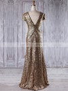 Sheath/Column V-neck Floor-length Sequined with Ruffles Bridesmaid Dresses #PDS01013204