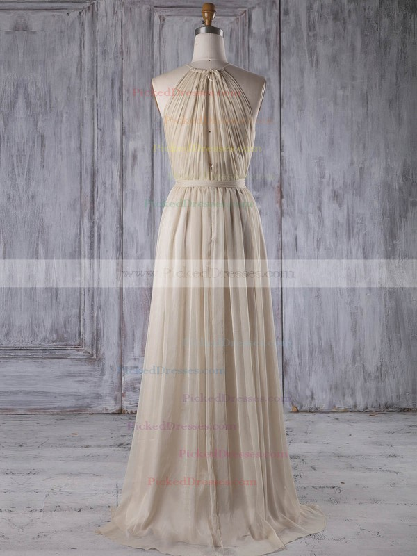 A-line Scoop Neck Asymmetrical Chiffon with Sashes / Ribbons Bridesmaid Dresses #PDS01013205