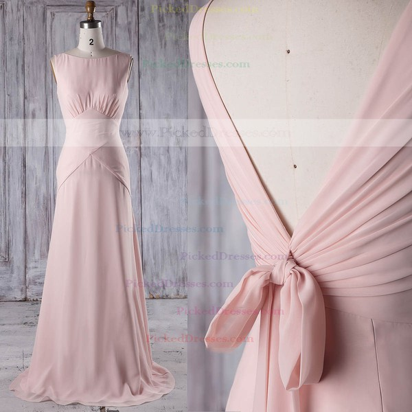 Sheath/Column Scoop Neck Sweep Train Chiffon with Ruffles Bridesmaid Dresses #PDS01013206