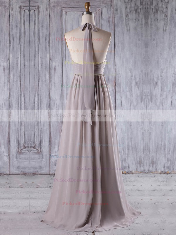 Empire Halter Floor-length Chiffon with Ruffles Bridesmaid Dresses #PDS01013207