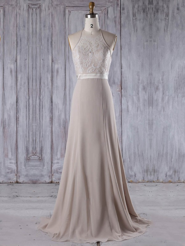 A-line Halter Sweep Train Lace Chiffon with Sashes / Ribbons Bridesmaid Dresses #PDS01013208