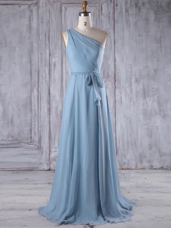 A-line One Shoulder Floor-length Chiffon with Sashes / Ribbons Bridesmaid Dresses #PDS01013209