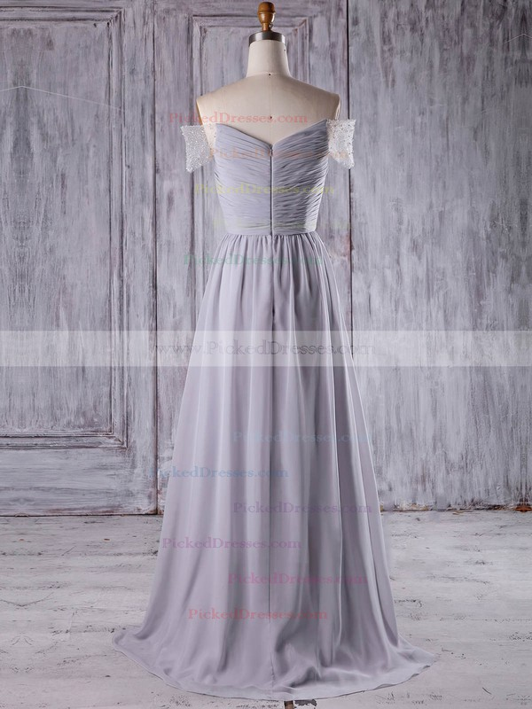 A-line Off-the-shoulder Sweep Train Chiffon Tulle with Beading Bridesmaid Dresses #PDS01013211