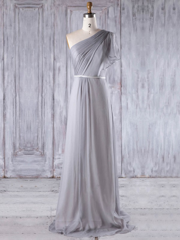 A-line One Shoulder Sweep Train Chiffon with Sashes / Ribbons Bridesmaid Dresses #PDS01013212