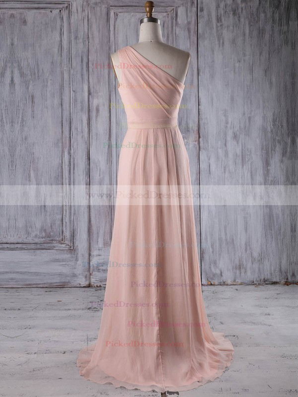 A-line One Shoulder Sweep Train Chiffon with Ruffles Bridesmaid Dresses #PDS01013215