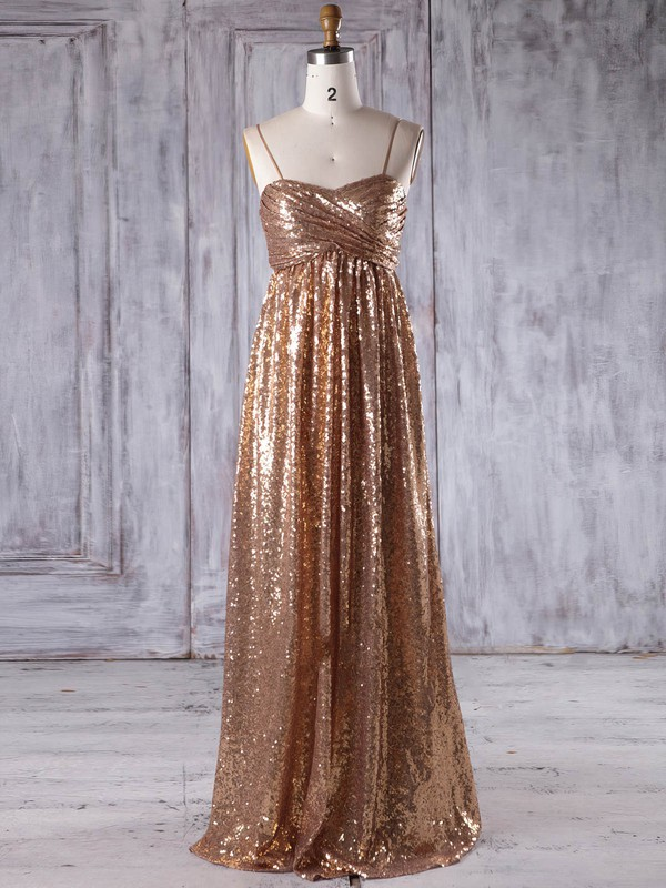 Empire Sweetheart Floor-length Sequined with Ruffles Bridesmaid Dresses #PDS01013218