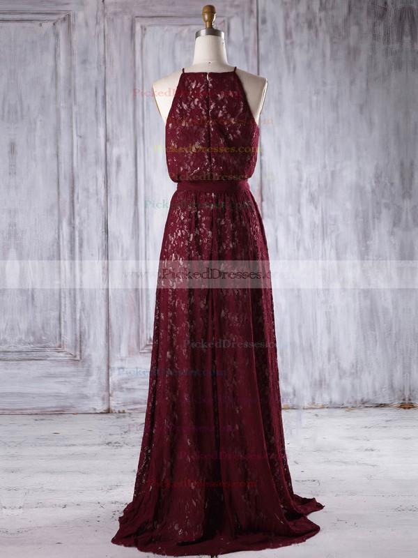 A-line Scoop Neck Floor-length Lace with Sashes / Ribbons Bridesmaid Dresses #PDS01013219