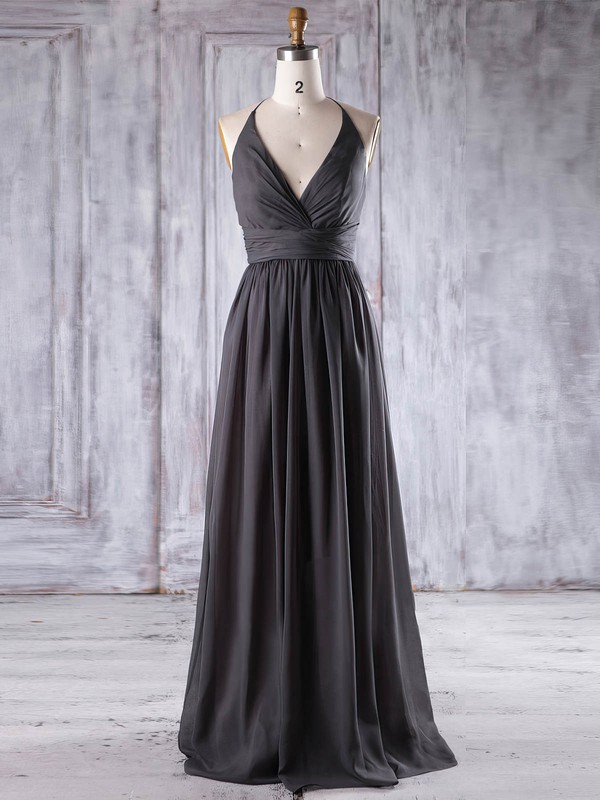 A-line Halter Floor-length Chiffon with Ruffles Bridesmaid Dresses #PDS01013221