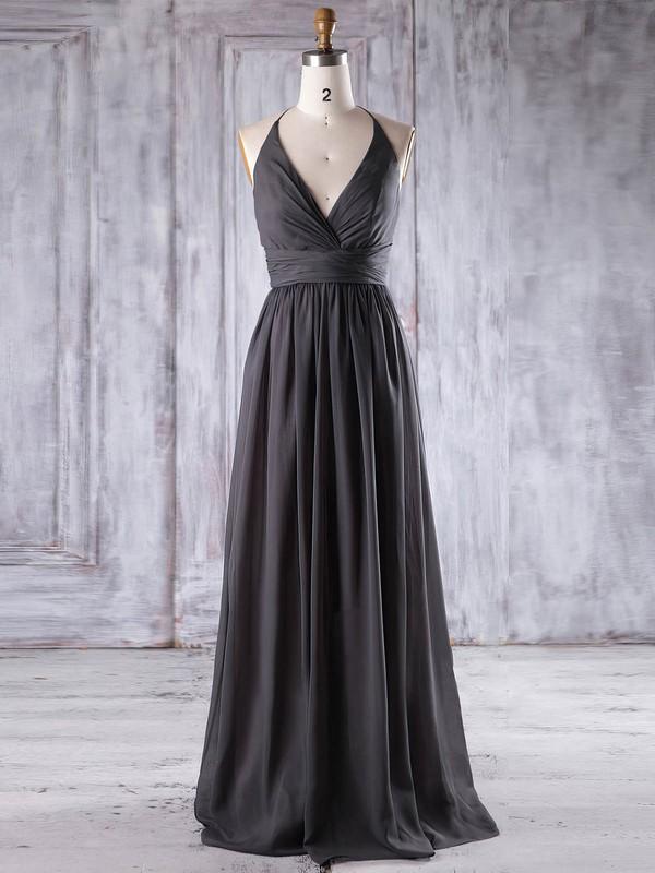 A-line Halter Floor-length Chiffon with Ruffles Bridesmaid Dresses #PDS01013221