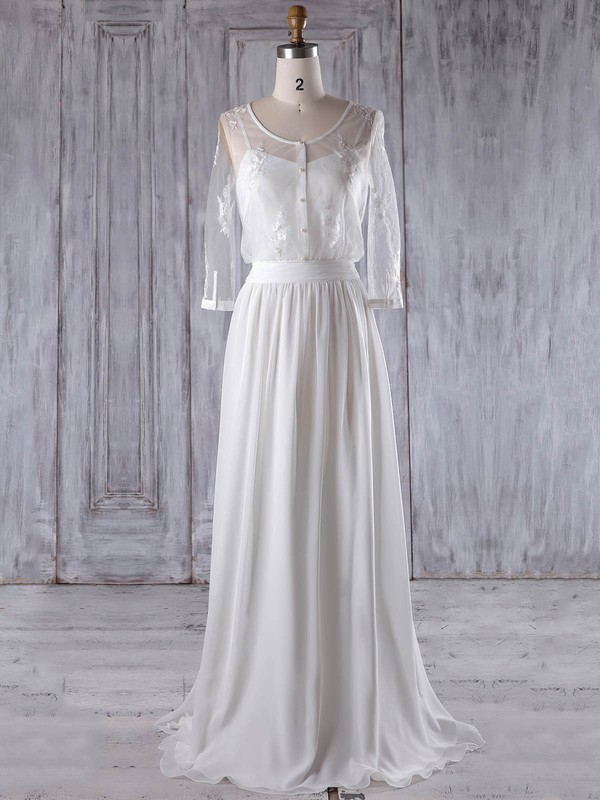 A-line Scoop Neck Floor-length Chiffon Tulle with Appliques Lace Bridesmaid Dresses #PDS01013222