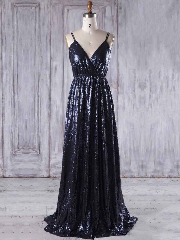 A-line V-neck Sweep Train Sequined with Embroidered Bridesmaid Dresses #PDS01013223