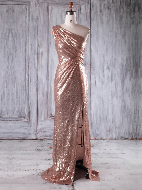 Sheath/Column One Shoulder Sweep Train Sequined with Split Front Bridesmaid Dresses #PDS01013226
