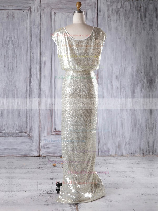 Sheath/Column Scoop Neck Floor-length Sequined with Split Front Bridesmaid Dresses #PDS01013228