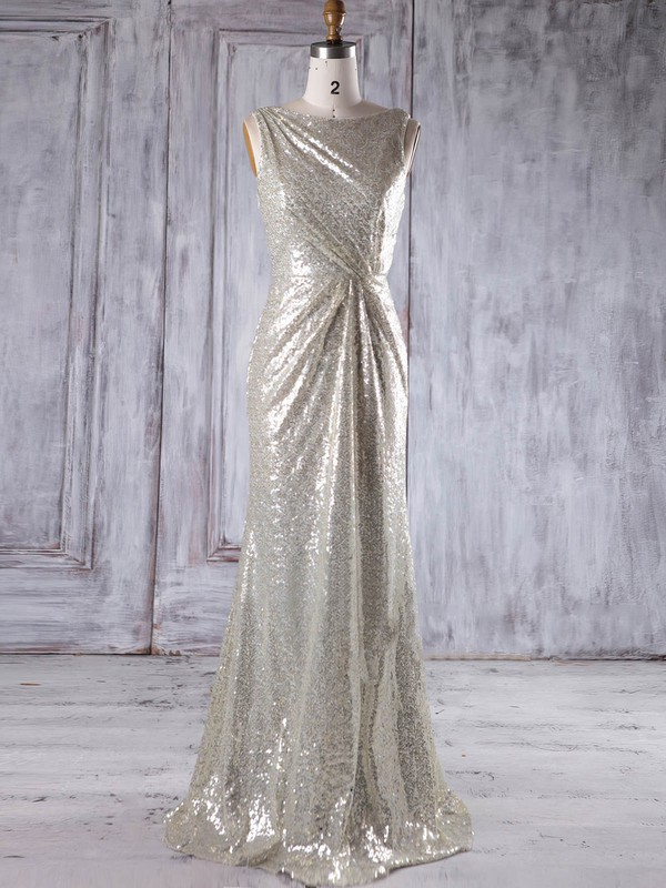 Sheath/Column Scoop Neck Floor-length Sequined with Ruffles Bridesmaid Dresses #PDS01013230