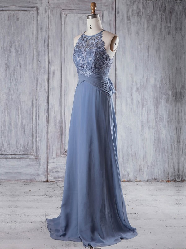 A-line Scoop Neck Sweep Train Lace Chiffon with Bo|Ruffles Bridesmaid Dresses #PDS01013232