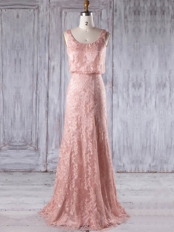 Sheath/Column Scoop Neck Floor-length Lace with Ruffles Bridesmaid Dresses #PDS01013233