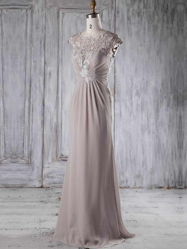 Sheath/Column Scoop Neck Sweep Train Chiffon Tulle with Appliques Lace Bridesmaid Dresses #PDS01013234
