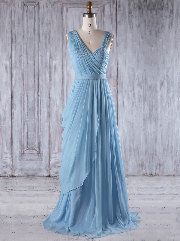 A-line Sweetheart Floor-length Chiffon with Ruffles Bridesmaid Dresses #PDS01013237