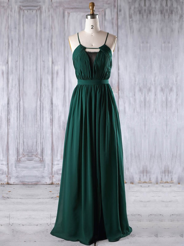 A-line Scoop Neck Floor-length Chiffon with Lace Bridesmaid Dresses #PDS01013238