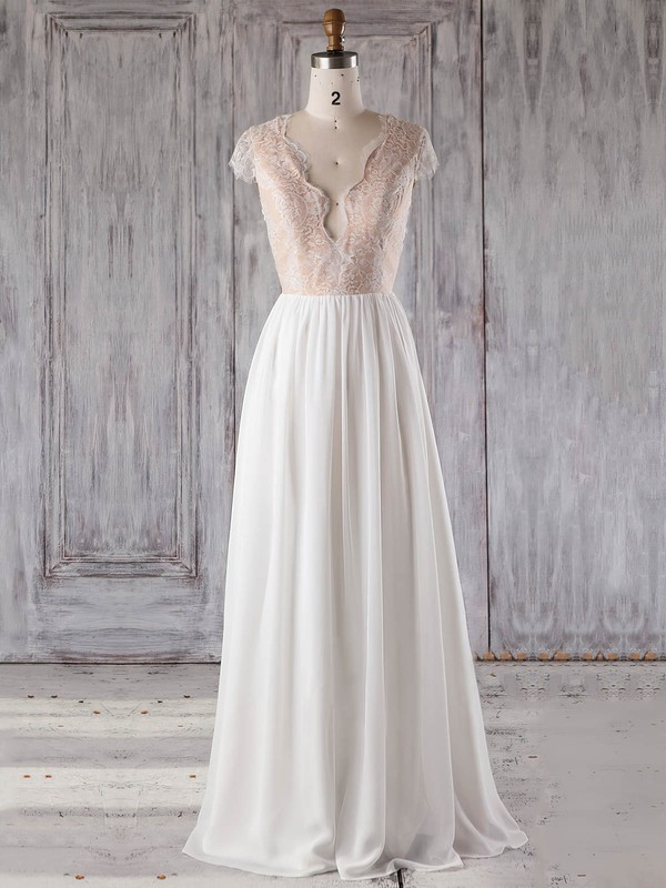 A-line V-neck Floor-length Chiffon Tulle with Appliques Lace Bridesmaid Dresses #PDS01013239