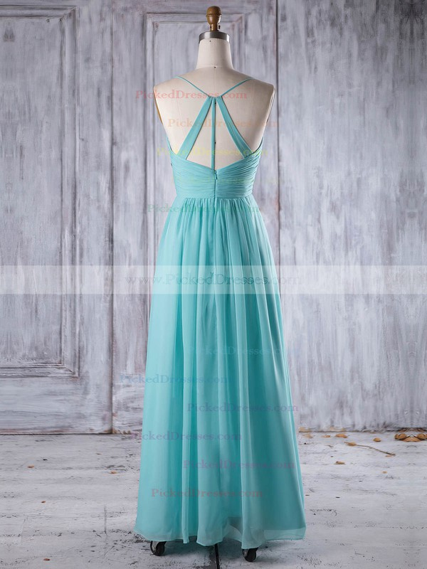 A-line V-neck Floor-length Chiffon with Ruffles Bridesmaid Dresses #PDS01013241