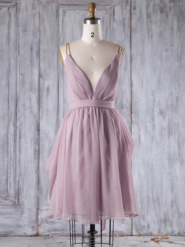 A-line V-neck Short/Mini Chiffon with Sashes / Ribbons Bridesmaid Dresses #PDS01013242