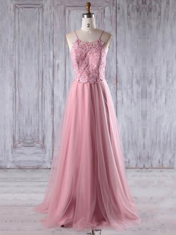 A-line Scoop Neck Floor-length Tulle with Appliques Lace Bridesmaid Dresses #PDS01013243