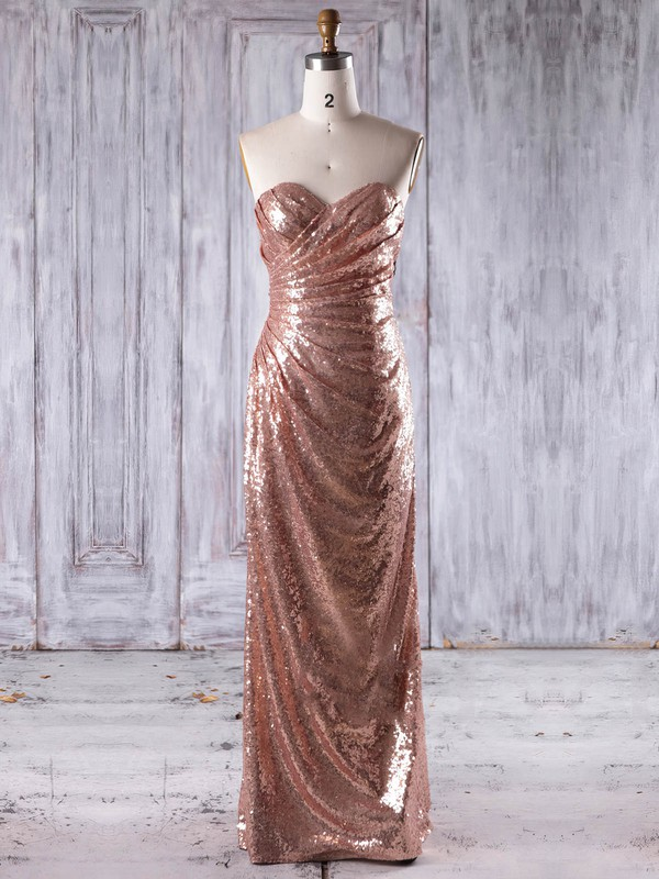 Sheath/Column Sweetheart Floor-length Sequined with Ruffles Bridesmaid Dresses #PDS01013244