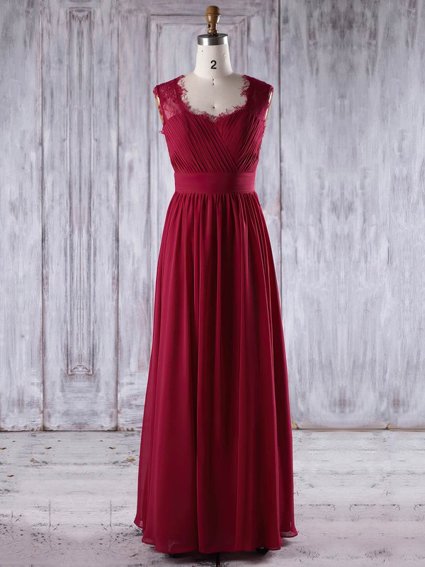 A-line Sweetheart Floor-length Lace Chiffon with Ruffles Bridesmaid Dresses #PDS01013245