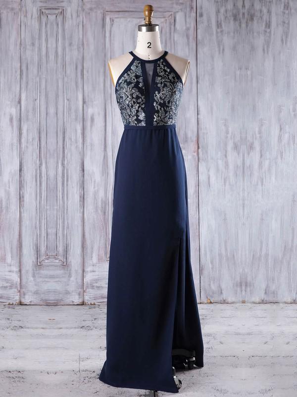 A-line Scoop Neck Floor-length Chiffon with Split Front Bridesmaid Dresses #PDS01013246