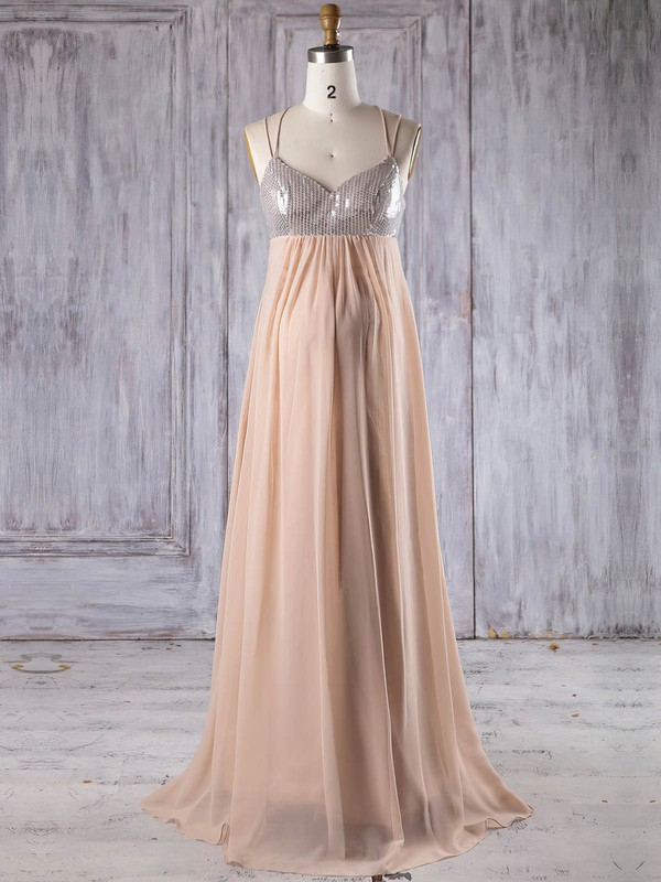 Empire V-neck Floor-length Chiffon with Sequins Bridesmaid Dresses #PDS01013247