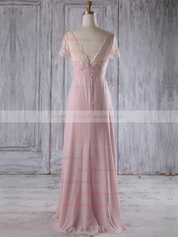 Empire V-neck Floor-length Lace Chiffon with Ruffles Bridesmaid Dresses #PDS01013249