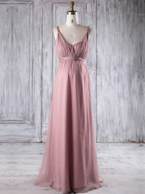 Empire V-neck Floor-length Chiffon with Ruffles Bridesmaid Dresses #PDS01013250